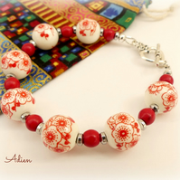 Red and White Porcelain Bead Bracelet