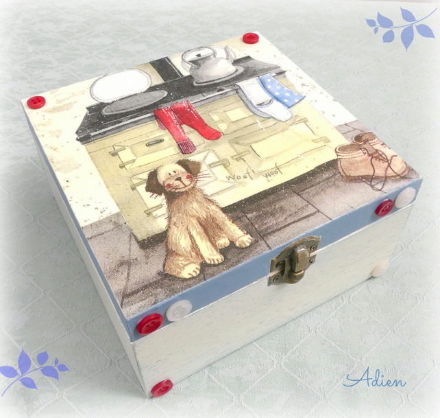 Cute Dog Wooden Box