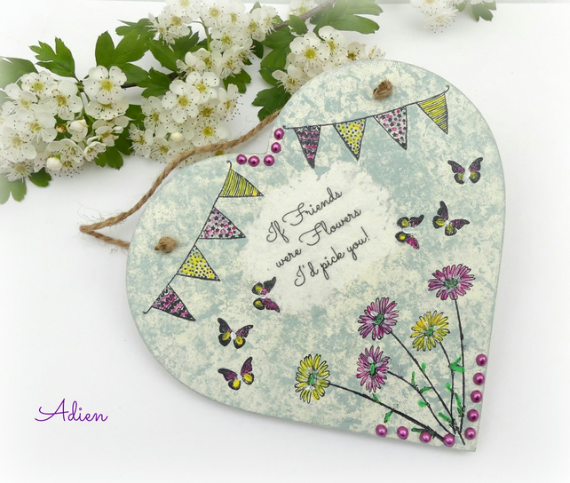 Friends  Floral Wooden Heart