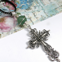 Large Cross Pendant with Aventurine