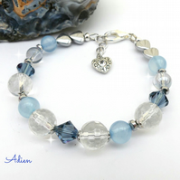 Blue Bracelet with Quartz and Swarovski™ Crystal, Gift Boxed