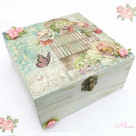 Vintage Birdcage and Roses Wooden Box