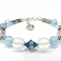 Blue Bracelet with Quartz and Swarovski™ Crystal