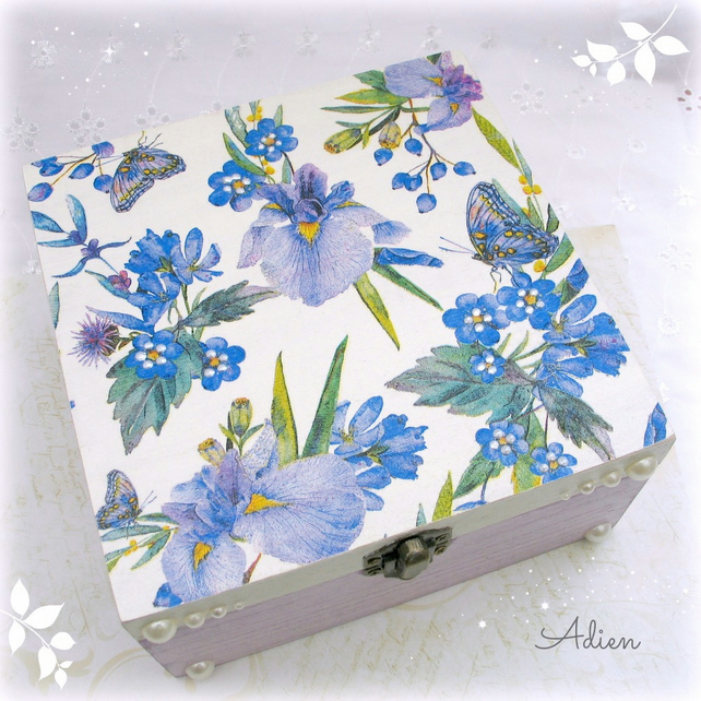 Blue and Mauve Flowers and Butterflies Wooden Box