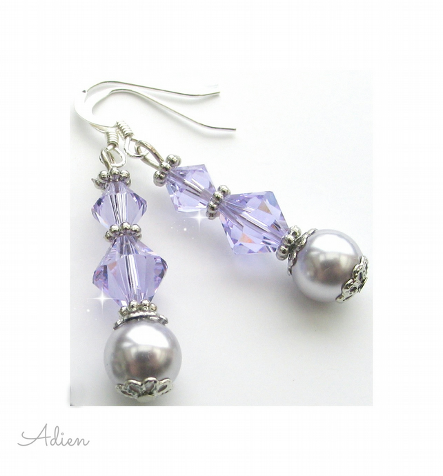 Light Purple Earrings with Swarovski™ Sterling Silver