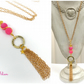 Hot Pink Love Faith Hope Tassle Necklace