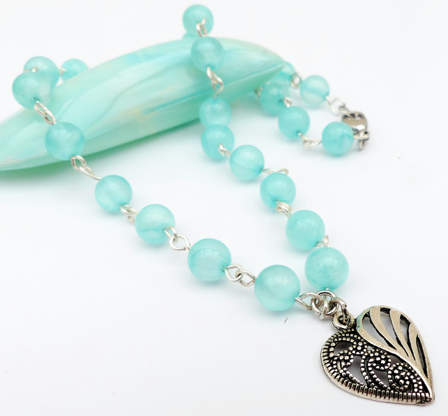 Turquoise Gemstone Heart Necklace
