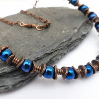 Electric Blue Coated Haematite with Antique Copper