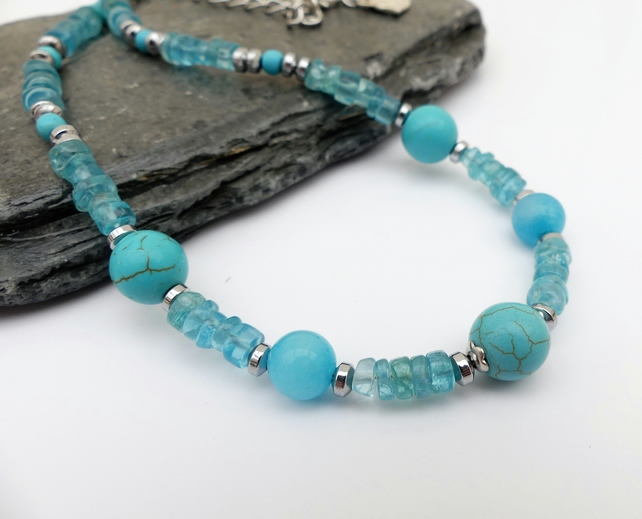 Apatite Necklace, Turquoise Jewellery