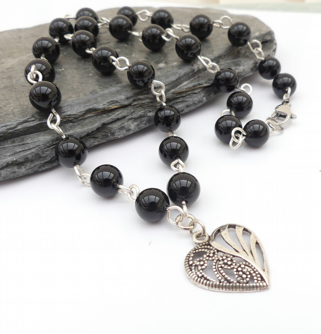 Black Onyx Gemstone Heart Necklace