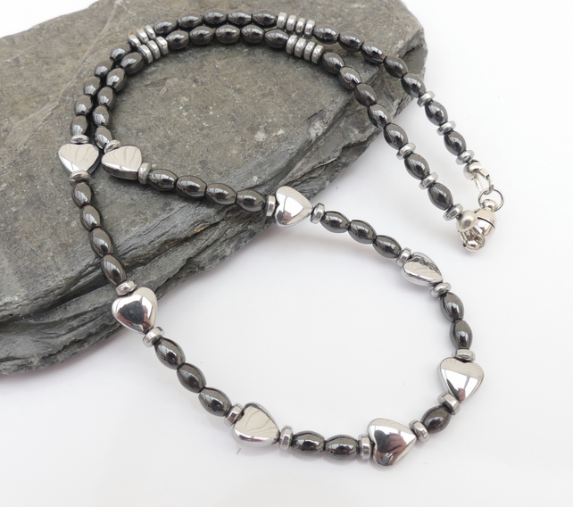 Silver and Grey Heamatite Necklace
