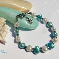 Freshwater Pearl Bracelet Turquoise and Ivory