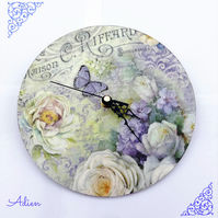 Shabby Chic Style Floral Clock