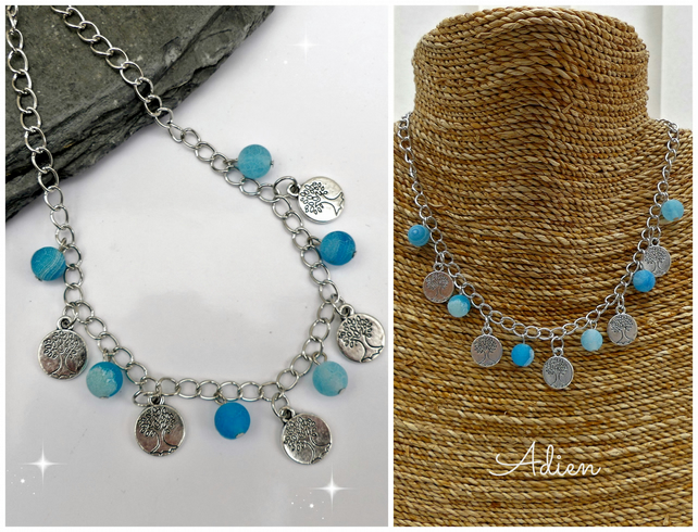 Tree of Life Charm Necklace with Turquoise Crackled Agate