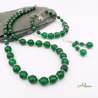 Green Agate Jewellery Set