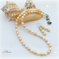Pearl Necklace & Earring Set, Freshwater Pearls Peaches & Cream