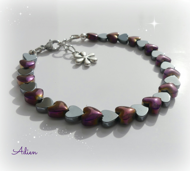 Purple and Silver Haematite Hearts Bracelet
