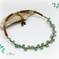 Green Gemstone Necklet, Aventurine Necklace