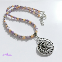 SALE  Lilac and Peach Mother of Pearl Necklace