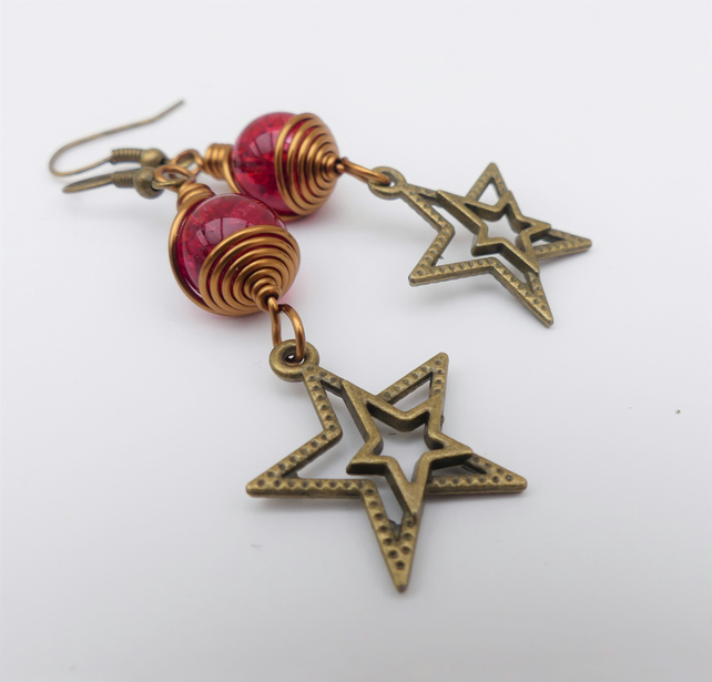 SALE Red Star Earrings