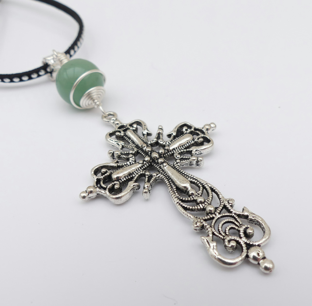 Sale Large Cross Pendant with Aventurine