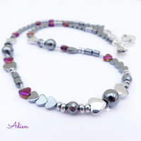 Purple and Grey Haematite Necklace
