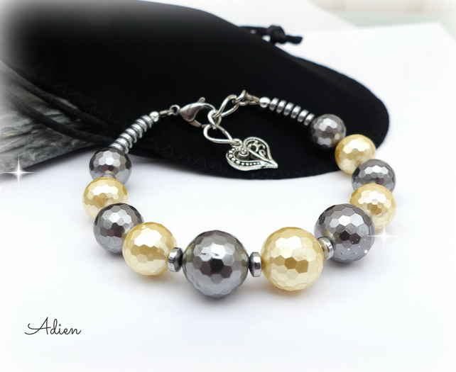 SALE  Lemon and Grey Shell Pearl Bracelet
