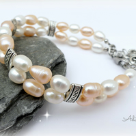 Freshwater Pearl Bracelet in Peach and Ivory, 2 strand