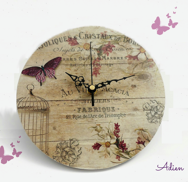Clock, Shabby Chic Style Purple Butterfly