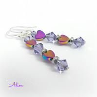 Heart Earrings Rainbow Haematite with Swarovski Crystal ™