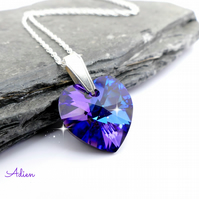 Purple Heart Necklace with Swarovski Crystal ™ Sterling Silver Chain, Gift Boxed