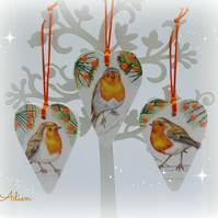 Christmas Robins Set of 3 Heart Decorations