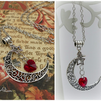 Moon Necklace with Red Swarovski ™ Heart
