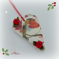 Christmas Robin Heart Decoration