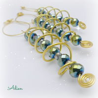 Christmas Decorations, Set of 3 Crystal Spirals Green and Blue