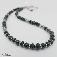 Black Spinel Gemstone Necklace, Gift Boxed