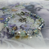 Blue and Green Swarovski ™ Crystal and Pearl Bracelet