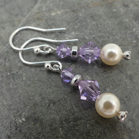 Crystal and Pearl Earrings with Swarovski™ Sterling Silver