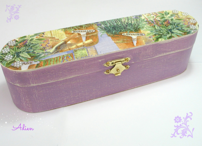 Pen or Artist Brush Box, Lavender Decorated Box