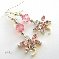 Pink Crystal Dragonfly Earrings