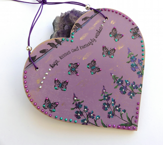 Butterfly Kisses Purple Heart Decoration