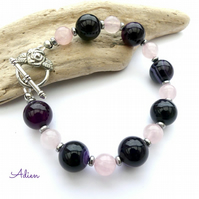 Rose Quartz & Purple Agate Bracelet