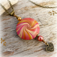 Pink & Gold Polymer Clay Pendant Necklace