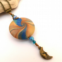 Blue & Gold Polymer Clay Pendant Necklace