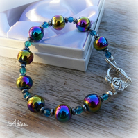 Rainbow Haematite and Turquoise Crystal Bracelet