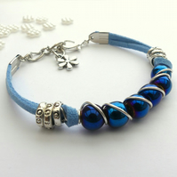 Blue Coated Haematite and Cord Bracelet