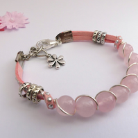 Rose Quartz and Pink Cord Bracelet