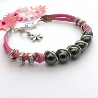 Grey Haematite and Pink Cord Bracelet