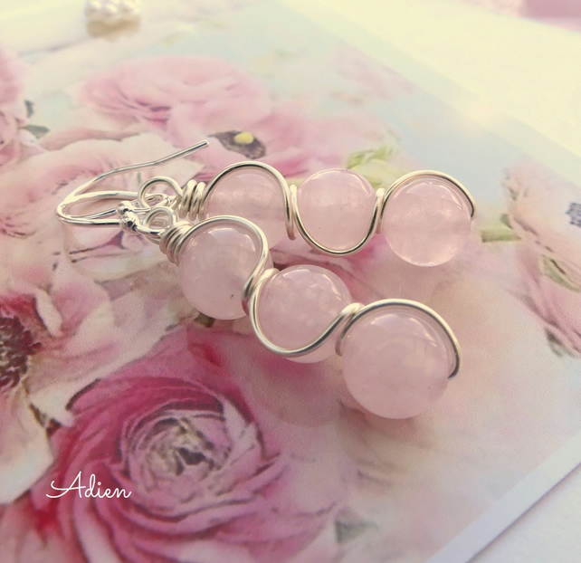 Rose Quartz Earrings Sterling Silver Ear Wires