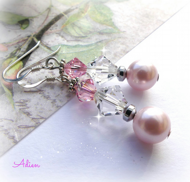 Pink  Earrings with Swarovski™ Sterling Silver